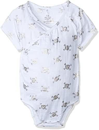 aden + anais Baby Boys Short Sleeve Kimono Body Suit, metallic silver skulls, 6-9M