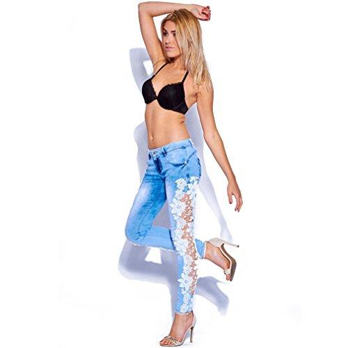 De Tight Jeans Pant Sexy La Qiyushow Azul Mujer Hollow Encaje Celeste Lápiz Flores Gancho Pies Out wFE4ppfqWO