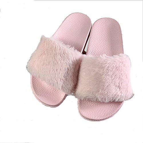 Plage Rose Pour Femmes Plates De slip Living Non Green Peluches Chaussures Faux Flop 6 Sandales Fashion Les Flip Chaussons Fourrure pUxn1