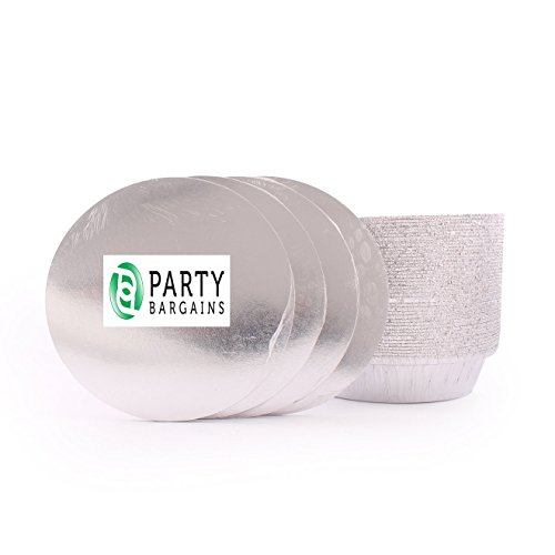 Aluminum Round Foil Pans | Disposable Pan Containers & Board Lids Set | 7 Inch Steam Table Pans | 40 Count