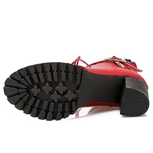 COOLCEPT Botines de Tacon Ancho para Mujer Red