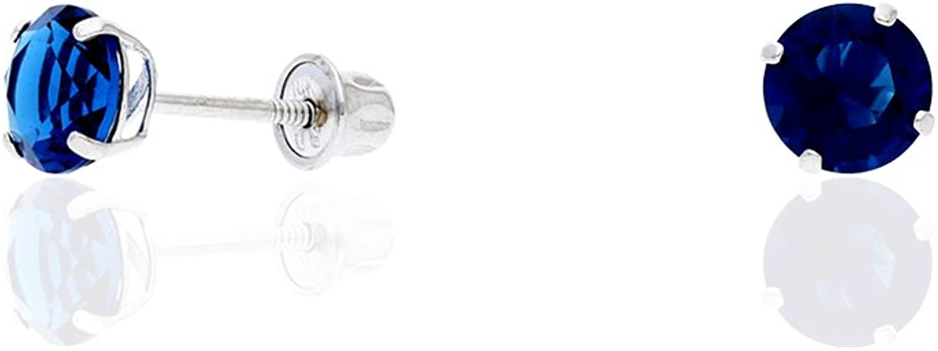 14K White Gold Round 5mm White Zircon April Stone Post Earrings