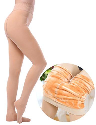 CHRLEISURE Women's Winter Thick Velvet Leggings Warm Solid Color Elastic Tights Pants - Warm Colors Skin