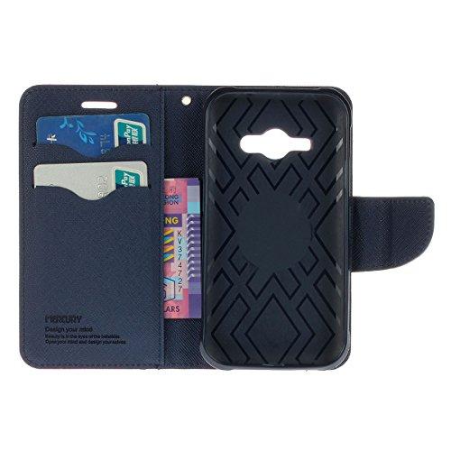 Galaxy J1 Funda,COOLKE Dos Colores Funda Carcasa Cuero Tapa Case Cover Para Samsung Galaxy J1 (4.3) - Rojo púrpura