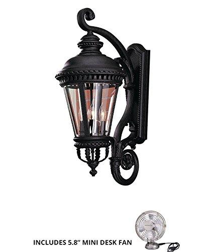 Feiss OL1904BK, Castle Outdoor Wall Sconce Lighting, 240 Watts, Black (Includes Mini Desk Fan)