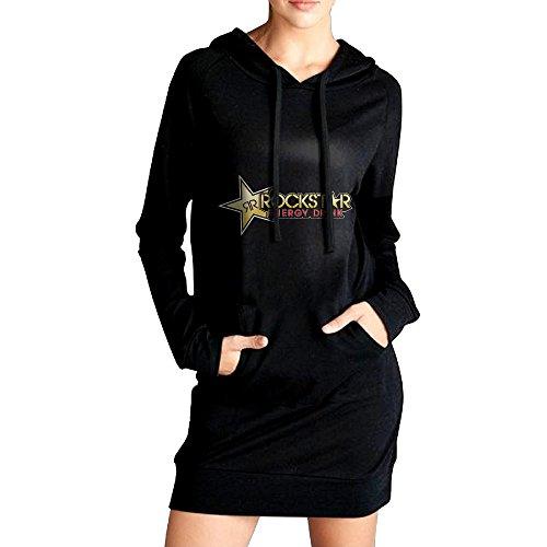 Womens Rockstar Hoodie Black Long Sleeve Sweatshirt Dress With Pocket Medium (Rockstar Energy Hoodie compare prices)