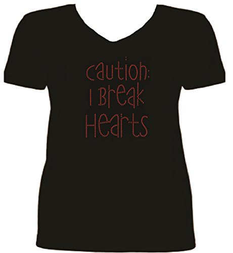 Rhinestone Break Hearts Rhinestone T Shirt S-V RS4X (XL, BLACK)