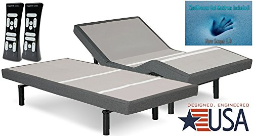 DynastyMattress 14-Inch CoolBreeze GEL Memory Foam Mattress with S-Cape Adjustable Beds Set Sleep System Leggett & Platt (SPLIT-KING)