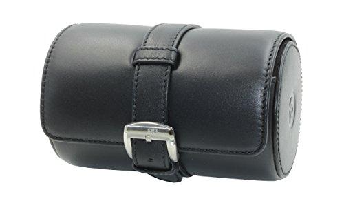 SWISS REIMAGINED Genuine Leather Portable Watch Roll Case Travel Organizer Safe Storage - Black