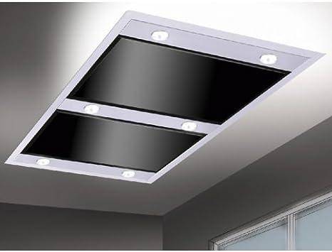 Silverline Vega Intern Premium 1200 m³/h De techo Negro, Acero inoxidable - Campana (1200 m³/h, Canalizado, 39 dB, De techo, Negro, Acero inoxidable, Vidrio, Acero inoxidable): Amazon.es: Hogar