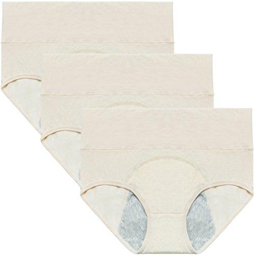 Innersy Women's Period Panties Leak-Proof Cotton Protective Underwear Pack of 3 (US Size XS S M L XL XXL)(M,3Beige)