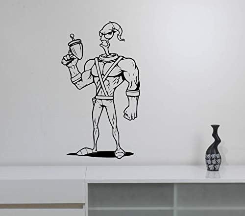Video Game Wall Vinyl Decal Earthworm Jim Vinyl Sticker Superhero Art Best 90s Decorations for Home Housewares Children's Room Retro Cartoon Decor Made in USA Fast Delivery ()