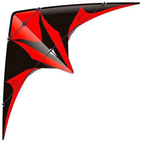 elliot 1011586 Elliot Slide, Zweileiner-Lenkdrachen, rtf, 205 x 90 cm, schwarz/rot, Kohlefaser/Cfk-Rohr 5/6 mm