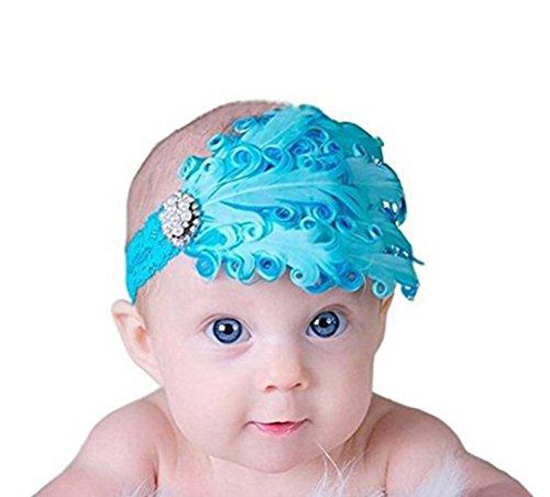 Demarkt Bébé Fille Serre-tête/Bandeau à Cheveux/Hair Accessory Elastique Fleur Plume avec des Cristaaux Simulés Bleu