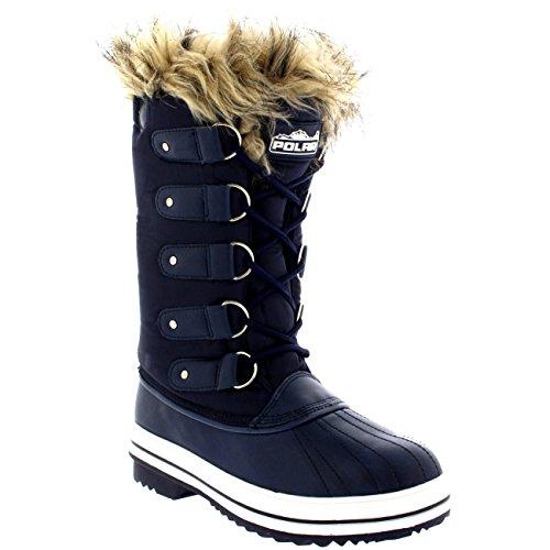 Polar Produkte Damen schnüren sich Gummisohle groß Winter Schnee Regen Schuh Stiefel Navy Nylon