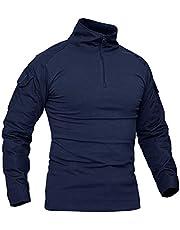 KEFITEVD Herr Slim Fit militär taktisk långärmad skjorta 1/4 framsida dragkedja kamouflage airsoft tröjor utomhus strid t-shirt