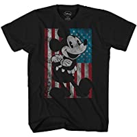 Disney Mickey Mouse American Flag Classic Vintage Retro Distressed America Patriotic Graphic Men's Adult T-Shirt Tee
