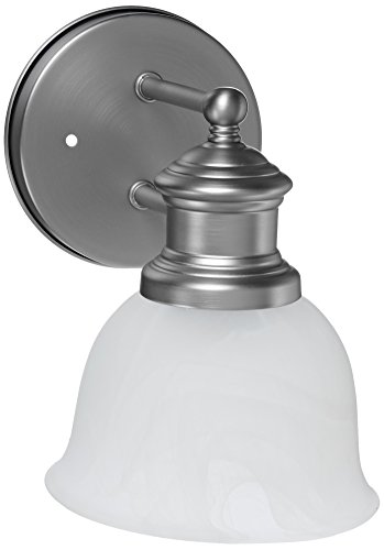 Craftmade 19805BN1 Bathroom Sconce with Alabaster Glass Shades, Brushed Nickel Finish