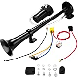 150db Air Horn, WADEO Single Trumpet Car Air Horn with Compressor for Any 12V Vehicles Trucks Lorrys Trains Boats Cars Black 18 Inches