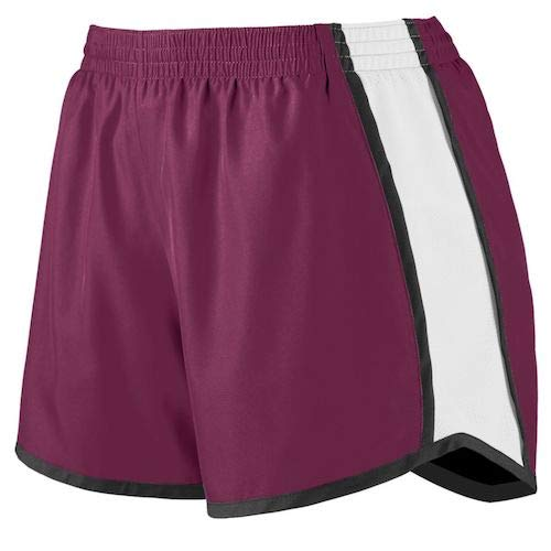 Augusta Sportswear Women's Junior fit Pulse Team Short, Maroon/White/Black, Medium