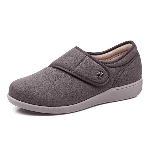 (W&Le-Slippers Women's Adjustable Diabetic Slippers - Extra Wide Width Arthritis,Edema Shoes (7, Grey))