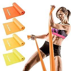 BAGLOBAL Widerstandsbänder 4er-Set Fitnessband Gymnastikband Naturlatex Theraband mit Übungsanleitung auf für…