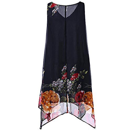 Dressin Womens Shirts Print Irregular Sleeveless Casual Tunic Tops Blouse T-Shirt Tank Top Cami for Ladies Teen Girls -