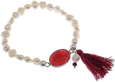 Pulsera de perlas de agua dulce blanca, piedras preciosas rojas y borla - Pulseras inspiradas