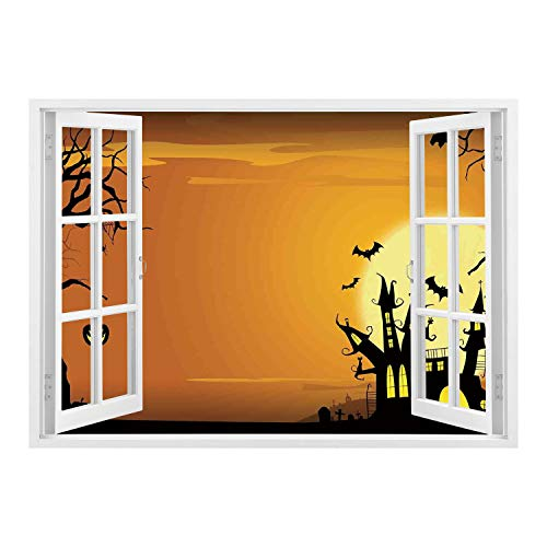 SCOCICI Wall Mural, Removable Sticker, Home Décor/Halloween Decorations,Gothic Haunted House Bats Western Spooky Night Scene with Pumpkin,Orange Black/Wall Sticker Mural ()