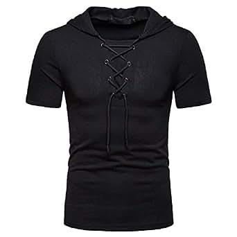 Howely Men's Hoodie Short Sleeve Hip hop Lace-Up Workout Tops T-Shirts Black L