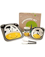 Bamboo Kids Plates and Bowls Sets   Non Toxic & Eco Friendly   5 Pcs Includes Toddler Plates Set   Cute Animal Designs   Kids Dinnerware Sets   Dishwasher Safe