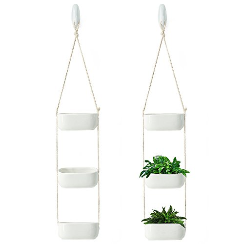 Rectangular Hanging Planter, 3-Tier Hanging Plant Pot, Rustic Hanging Planters for Outdoor Plants, Ceramic Hanging Pot Planter for Indoor Outdoor, White Hanging Planter Basket, Triple Plant Hanger