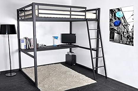 Cama en altillo, 140 cm, con escritorio, Alto, 190 X 140, 200: Amazon.es: Hogar