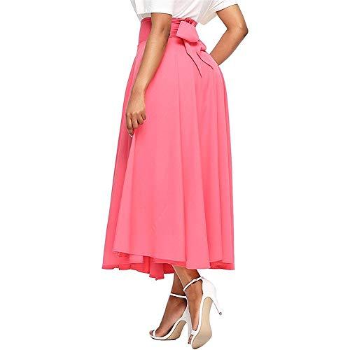wangwtry Jupe Femme Jupe plisse Taille Haute Poche Ceinture Fendue sur Le c?t Rtro Jupe vase surleve Rose