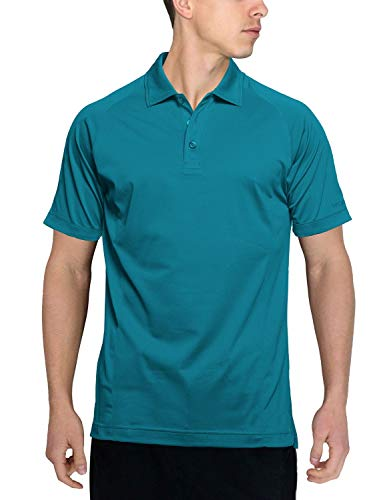 Woolx Men's Summit Lightweight Breathable Merino Wool Short Sleeve Polo Shirt, Aqua, Large
