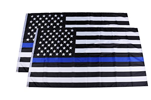 (Fasmov 3 x 5 Ft Thin Blue Line American US Flag UV Fade Resistant - Double Stitched Honoring Law Enforcement Officers Flags Polyester Brass Grommets, Set of 2)