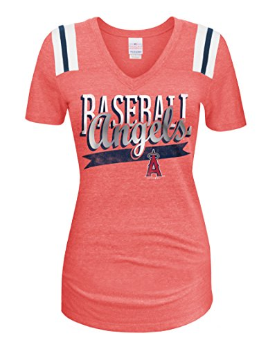 5th & Ocean MLB Los Angeles Angels Women's Short Sleeve V-Neck Tee, Red, Medium