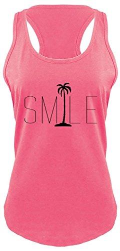 Comical Shirt Ladies Racerback Tank Smile Palm Trees Graphic Tee Beach Bum Ocean Graphic Tee Hot Pink L