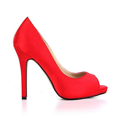 de goma High mujer Red Heels verano de 11CM toe Peep Zapatos Sandalias 4U® para de Silk suela Best Cómodo Pumps EU38 Basic Faux boda XOTUBq4