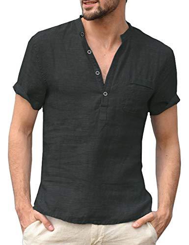 Daupanzees Mens Short Sleeve Beach Shirts Linen Button Down Fishing Tees Band Collar Plain Summer Shirts Black
