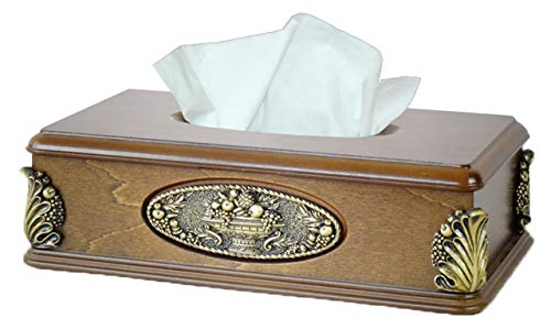 Classic Holder Tissue - Classic Wood Tissue Box Holder with Gold Plaque