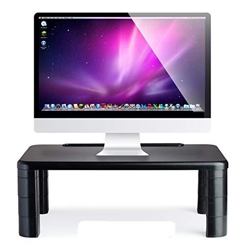 Computer Desk Monitor Stand Riser with Height Adjustable Feet - Office Storage Organizer, Shelf for Desktop, Printer, Screen, TV, Tablet Holder - Black | 2 Pack