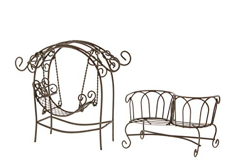 The Bridge Collection Mini Metal Furniture Bundle for Fairy Gardens - Tete-a-Tete Bench & Arch with Swing (Arch Bench Garden)