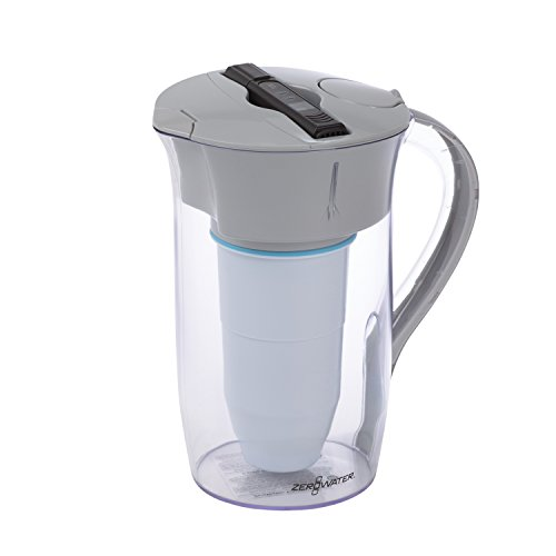 ZeroWater 8 Cup Round Pitcher with Free Water Quality Meter BPA-Free NSF Certified to Reduce Lead and Other Heavy Metals