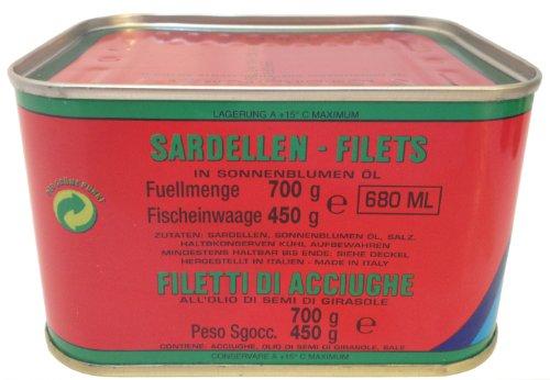 Sardellen - Filets FLOTT in Sonnenblumenöl - Filetti di Acciughe - 700 gr Dose 450 gr Abtropfgewicht