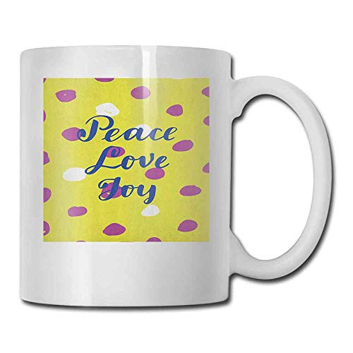 - Joy Ceramic Cup Doted Pattern with Peace Love Joy Hand Drawn Calligraphy Modern For Family and Friend Yellow Green Violet Cobalt Blue 11oz