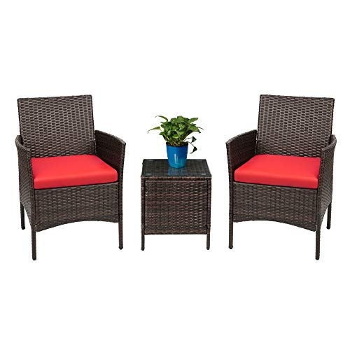 Devoko Patio Porch Furniture Sets 3 Pieces PE Rattan Wicker Chairs with Table Outdoor Garden Furniture Sets (Brown/Red) (Outdoor Furniture Foldable Patio)