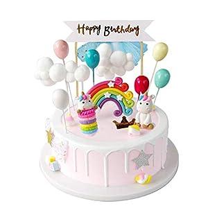 iZoeL Licorne gâteau Décoration Licorne Cake Topper bannière Joyeux Anniversaire Gâteau Ballon Arc-en-Ciel Étoiles et…