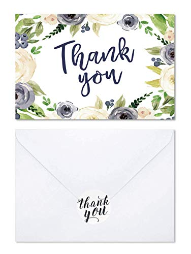 (Navy Watercolor Floral Wreath Thank You Card Set-Rustic Design-12 Pack Thank you greeting Card,Blank Note Card with Envelopes and Stickers-Perfect For Wedding, Baby shower, Business,Bridal )