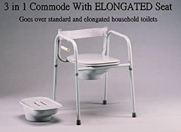 Amazon.com: Elongated Seat 3 in One Bedside Commode, Made in USA ...
